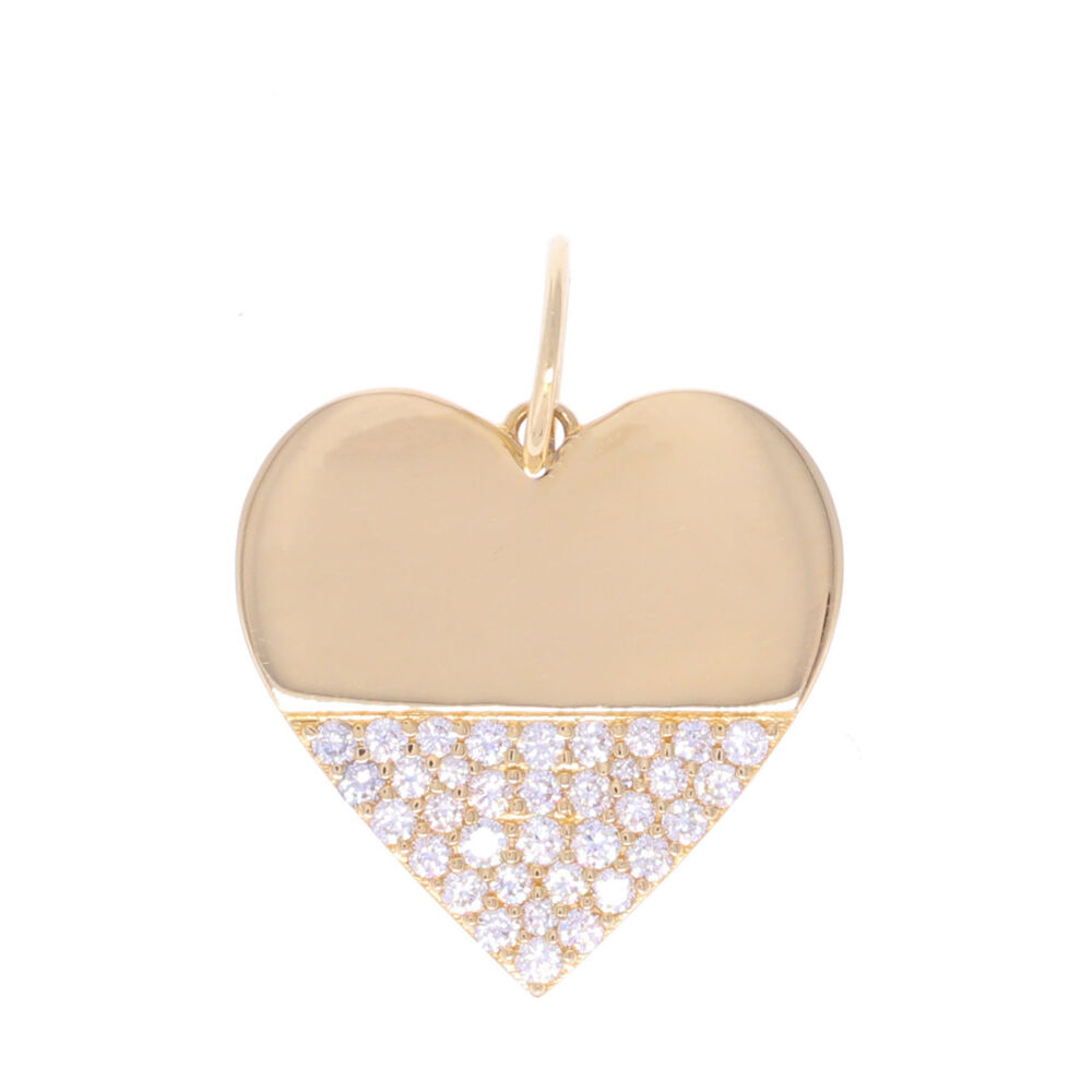14k Heart Dipped in Diamonds