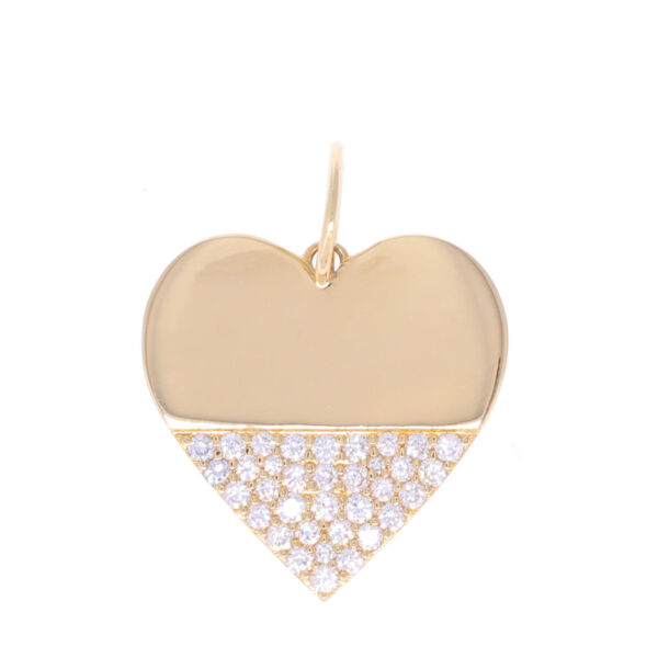 Closeup photo of 14k Heart Dipped in Diamonds