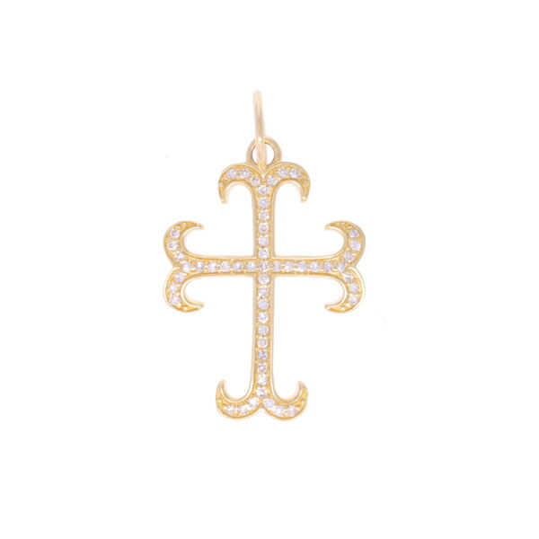Closeup photo of 14k Sprouted Cross with Diamonds