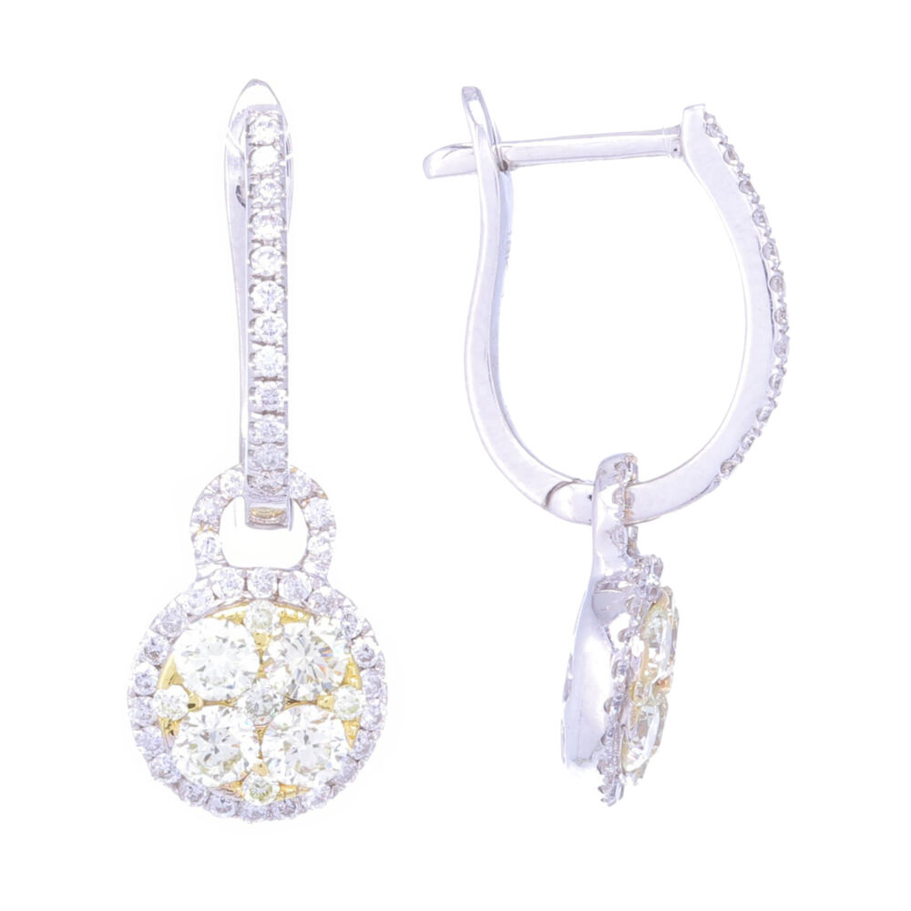 Image 2 for 18k White Gold Diamond Huggies with Yellow Diamond Charms