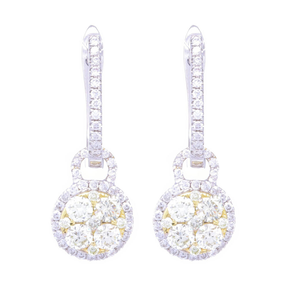 18k White Gold Diamond Huggies with Yellow Diamond Charms