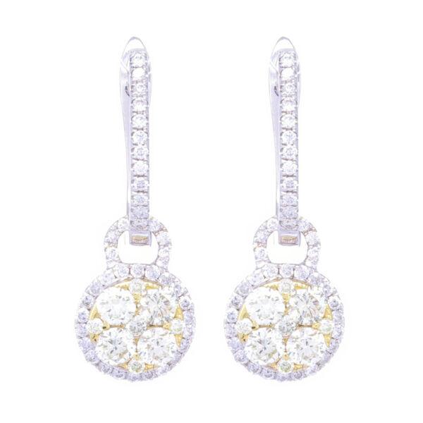 Closeup photo of 18k White Gold Diamond Huggies with Yellow Diamond Charms