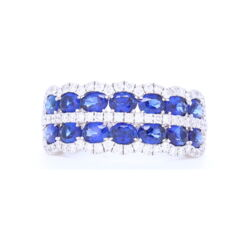 Closeup photo of 18k White Gold Double Row Sapphire and Diamond Statement Ring