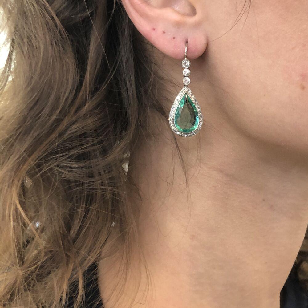 Image 2 for Platinum Pear Emerald & Diamond Drop Earrings