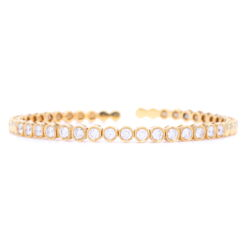 Closeup photo of 18k Classic Bezel Set Diamond Flexible Bracelet