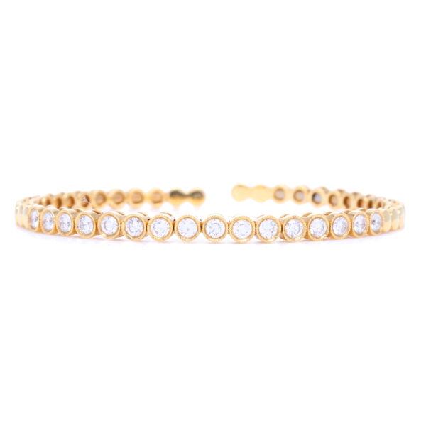 Closeup photo of 18k Classic Bezel Set Diamond Flexible Bracelet