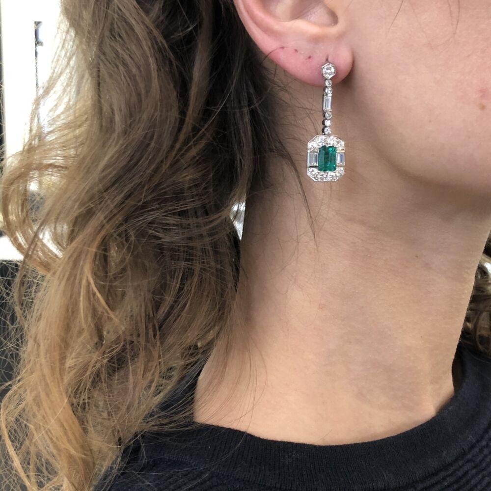 Image 2 for 1950's Platinum Emerald & Diamond Earrings
