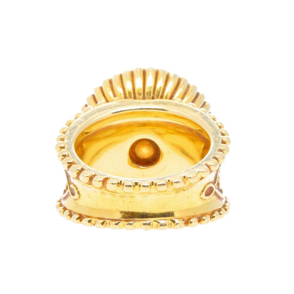 Cynthia Bach Oval Scroll Yellow Sapphire Ring