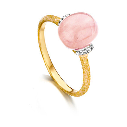 Closeup photo of Dancing Color Pink Chalcedony Ring