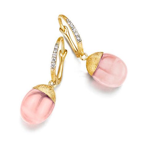 Dancing Color Pink Chalcedony Earrings