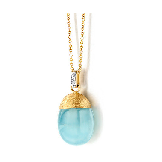 Closeup photo of Dancing Color Blue Chalcedony Necklace