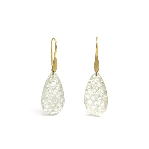 Carved Rock Crystal Drop Earrings