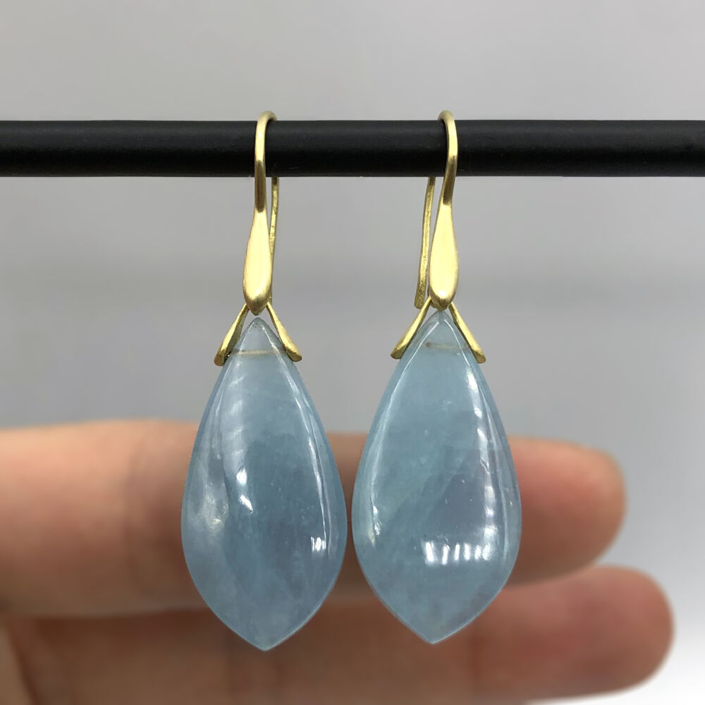 Image 2 for Aquamarine Trapeze Earrings