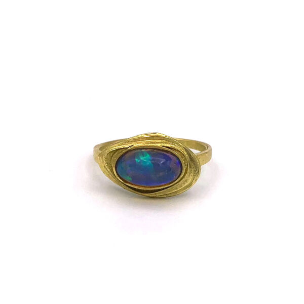 Closeup photo of Azores Jelly Opal Ring