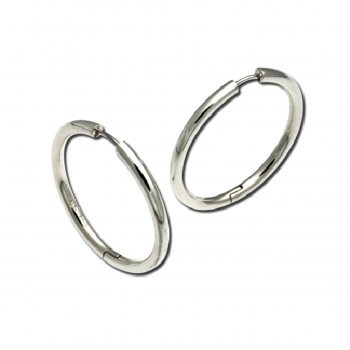 Closeup photo of Large Thin Snap Hoop Earrings