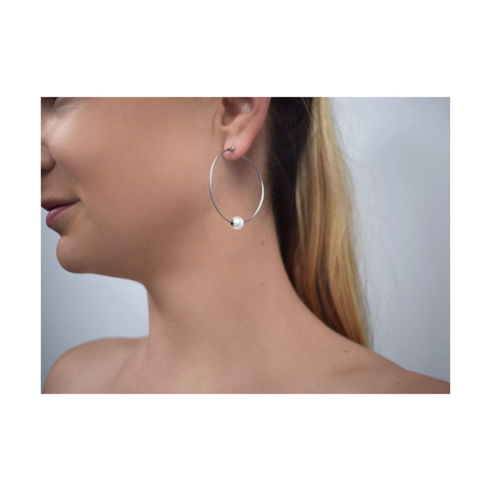 Image 2 for Freshwater Pearl Cable Hoop Earrings