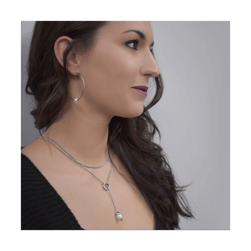 Freshwater Pearl Cable Hoop Earrings