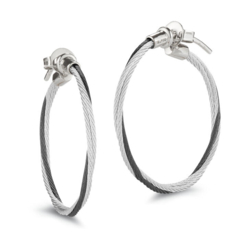 Closeup photo of Small Twisted Cable Hoop Earrings