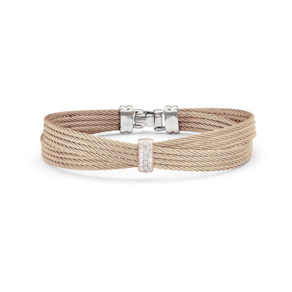 Closeup photo of Carnation Cable Petite Bow Bracelet