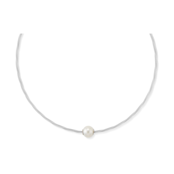 Closeup photo of Choker Cable Necklace with Freshwater Pearl Rondel