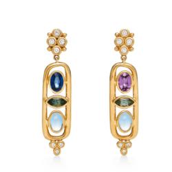 Closeup photo of 18K Theodora Cartouche Earrings