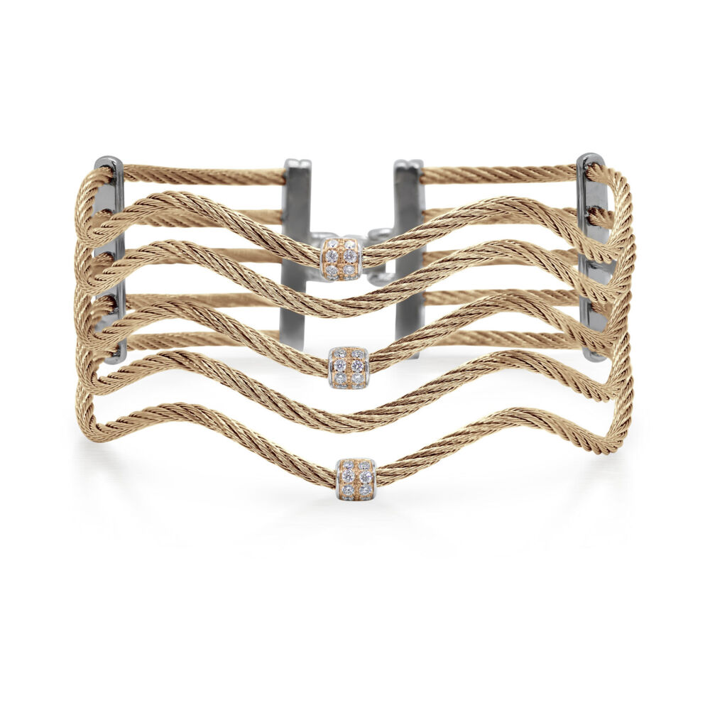 Cable Wave Bracelet with 18kt Rose Gold & Diamonds