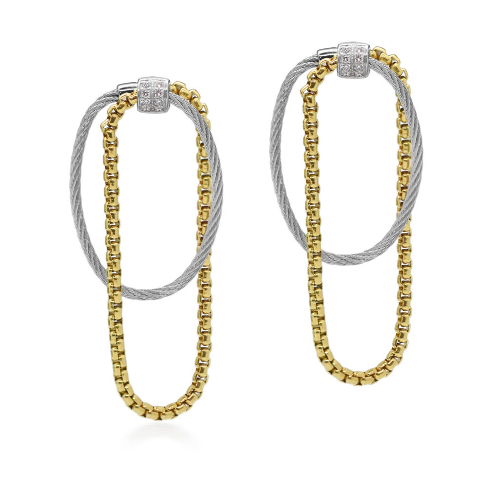 Chain & Cable with Diamonds Drop Earrings