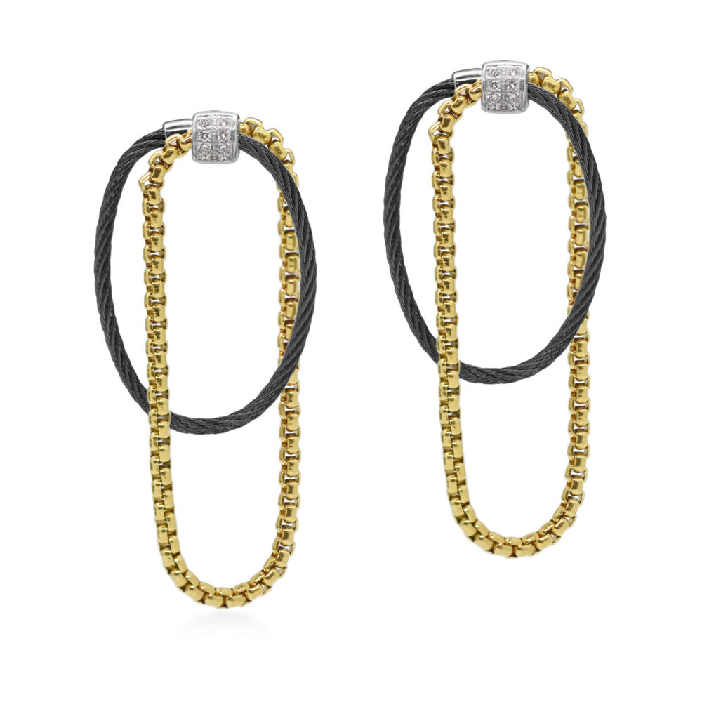 Image 2 for Chain & Cable with Diamonds Drop Earrings