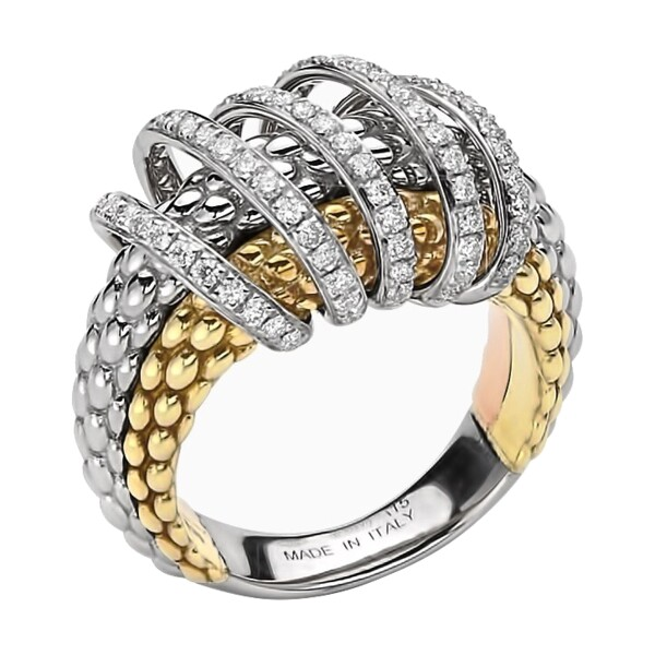Closeup photo of Tri Color Multi Wrap Pave Diamond Ring