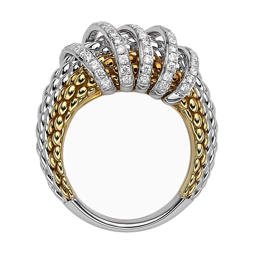 Image 2 for Tri Color Multi Wrap Pave Diamond Ring