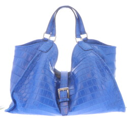 Closeup photo of Large Blue Crocodile Collete Handbag