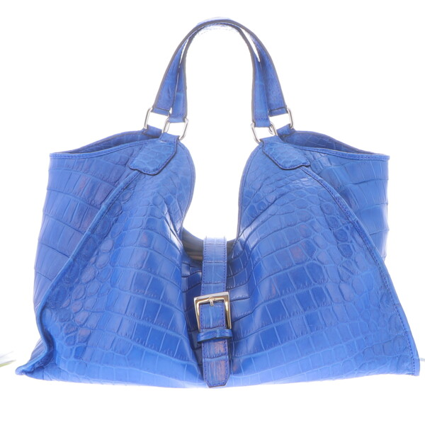 Closeup photo of Large Blue Crocodile Collete Handbag