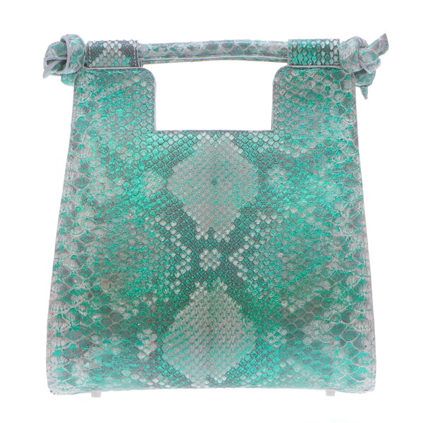 Closeup photo of Small Metalic Green Python Resort Bag