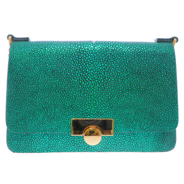 Closeup photo of Emerald Green Stingray Chain Bag