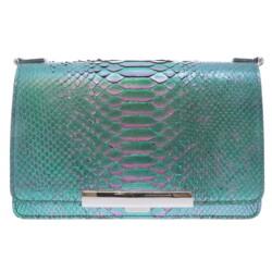 Closeup photo of Ombre Purple & Green Python Chain Bag