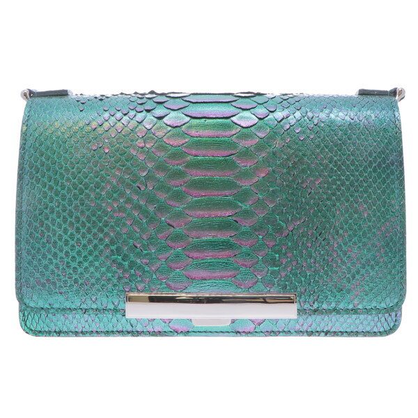 Closeup photo of Ombre Purple & Green Python Chain Bag