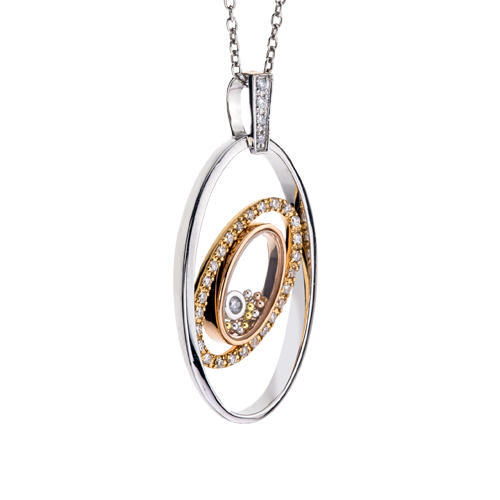 Closeup photo of Floating Diamond Oval Pendant 14k .17tcw