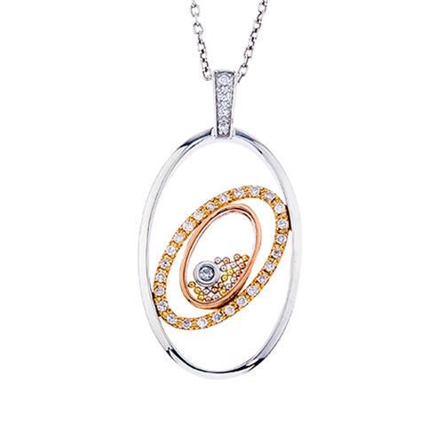 Floating Diamond Oval Pendant 14k .17tcw