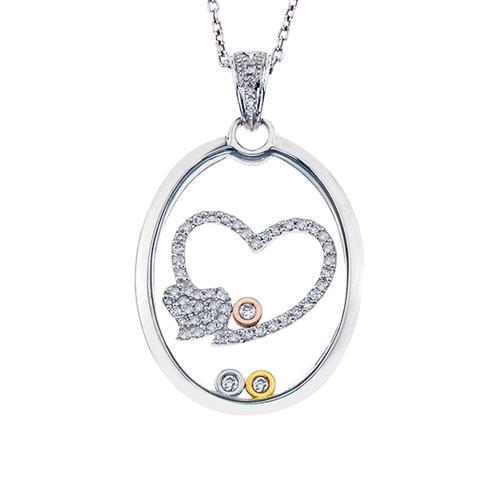 Closeup photo of 14k Floating Diamond Heart Pendant
