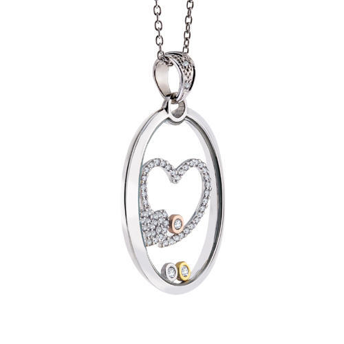 14k Floating Diamond Heart Pendant