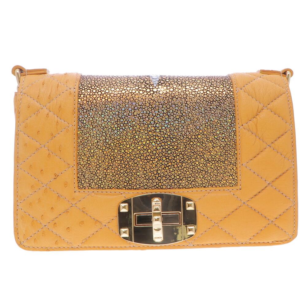 Gold Ostrich & Stingray Chain Bag