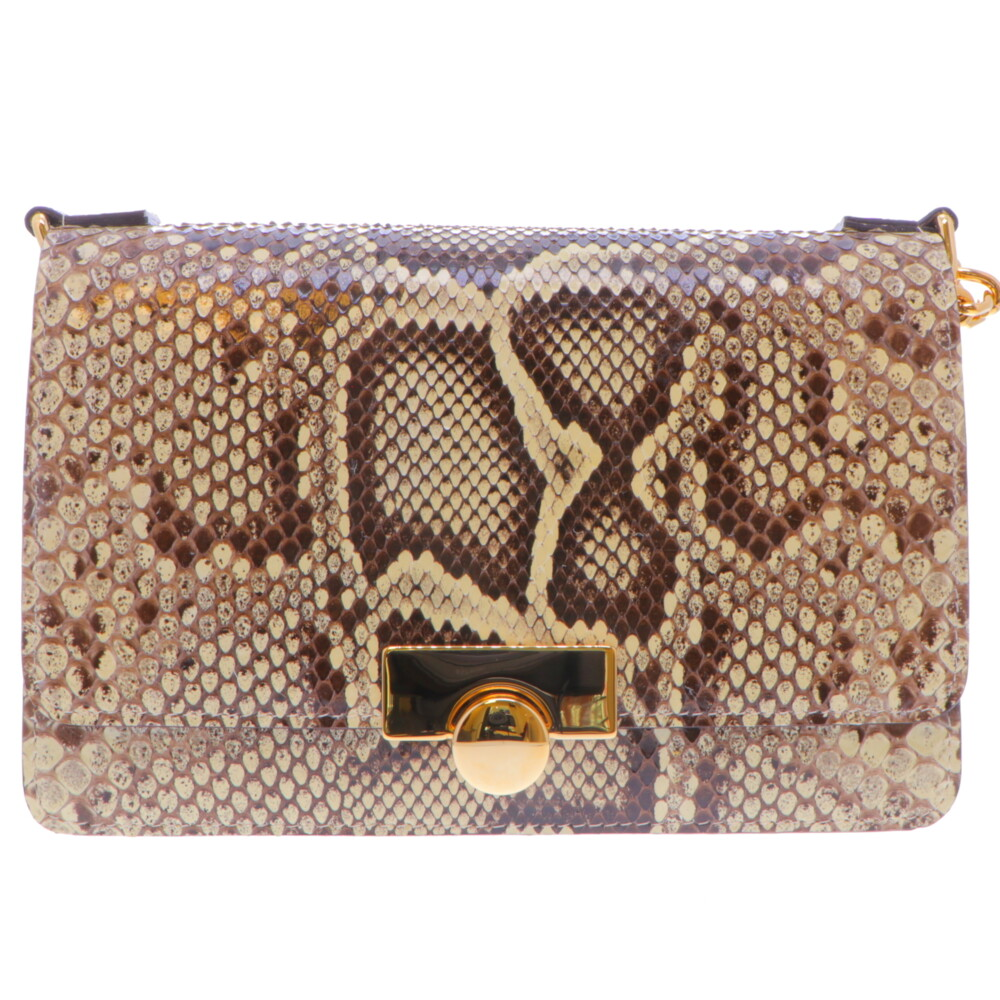 Natural Python Chain Bag w/ Gold Hardware