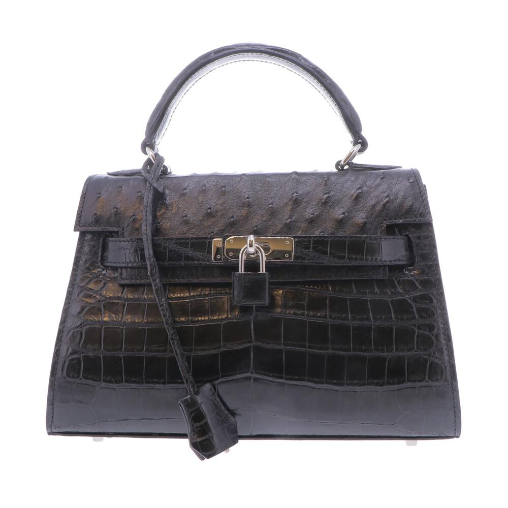 Black Nile Crocodile  & Ostrich Top Handle Bag
