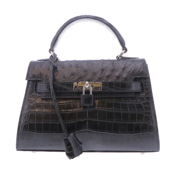 Closeup photo of Black Nile Crocodile  & Ostrich Top Handle Bag