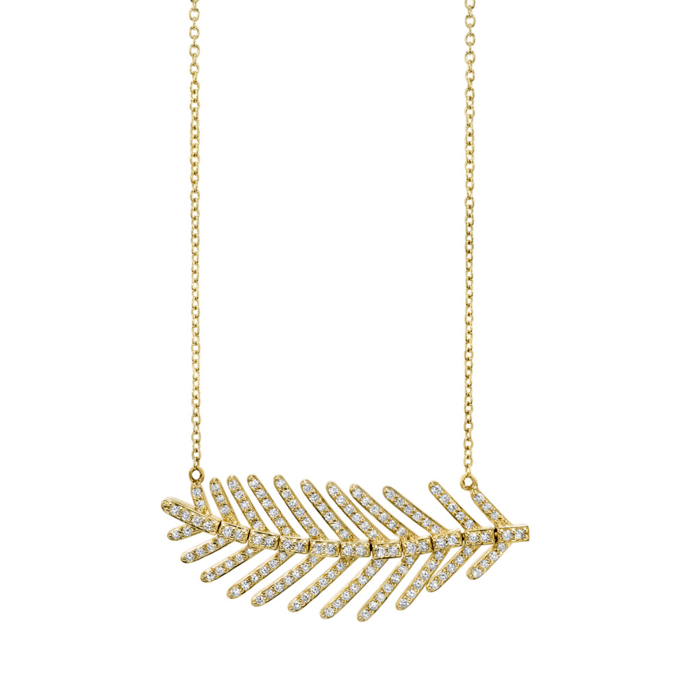 Feather Chain with White Diamond Detail
