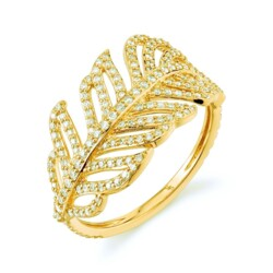 Closeup photo of Feather Ring with White Diamond Detail