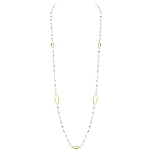 Closeup photo of White Topaz Chain with Strie Oval Detail