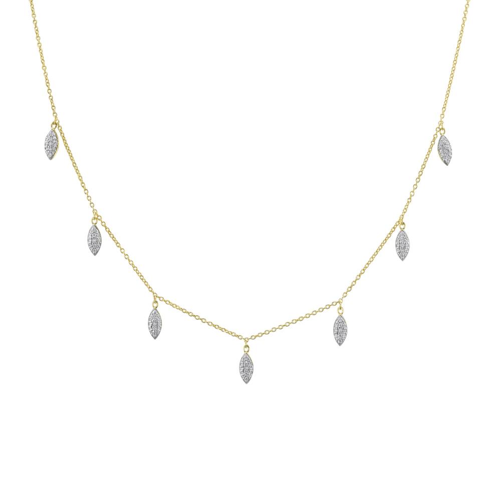 Pave Diamond Marquis Drop Necklace