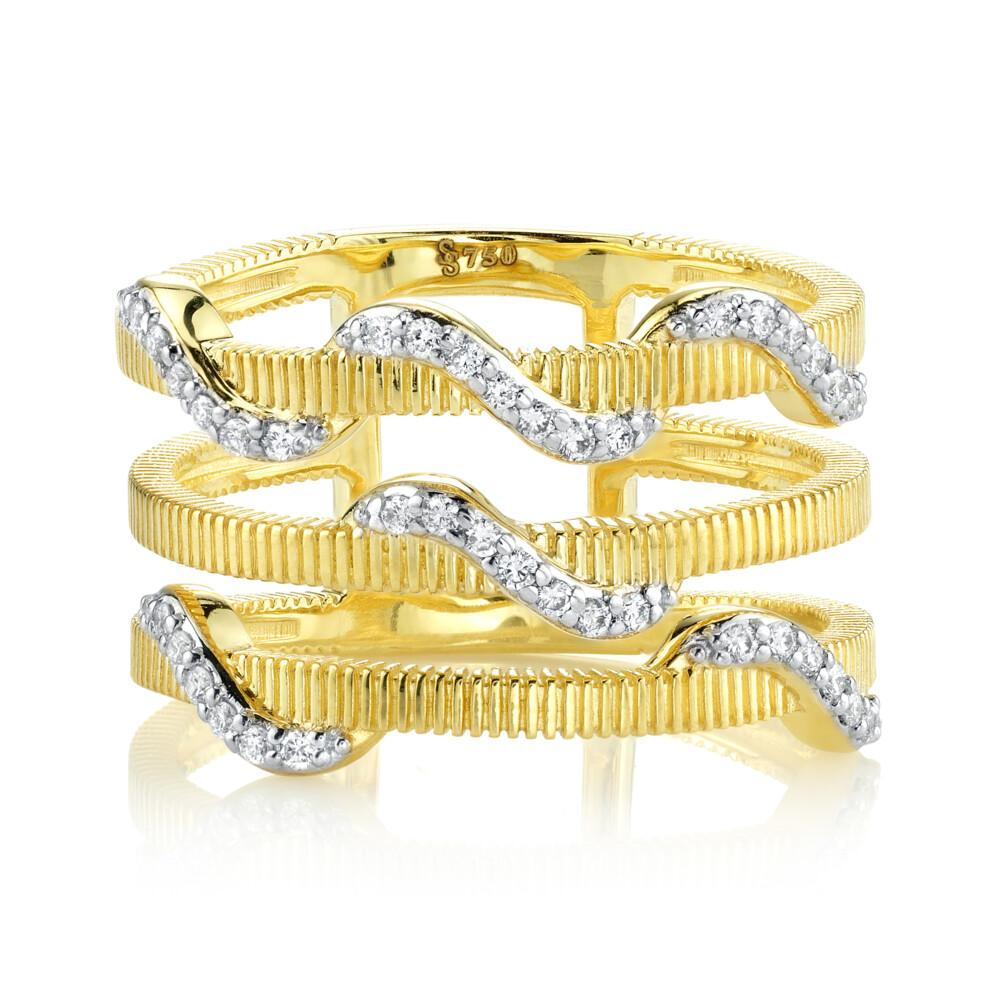 Image 2 for Three Bar White Diamond Wrap Ring