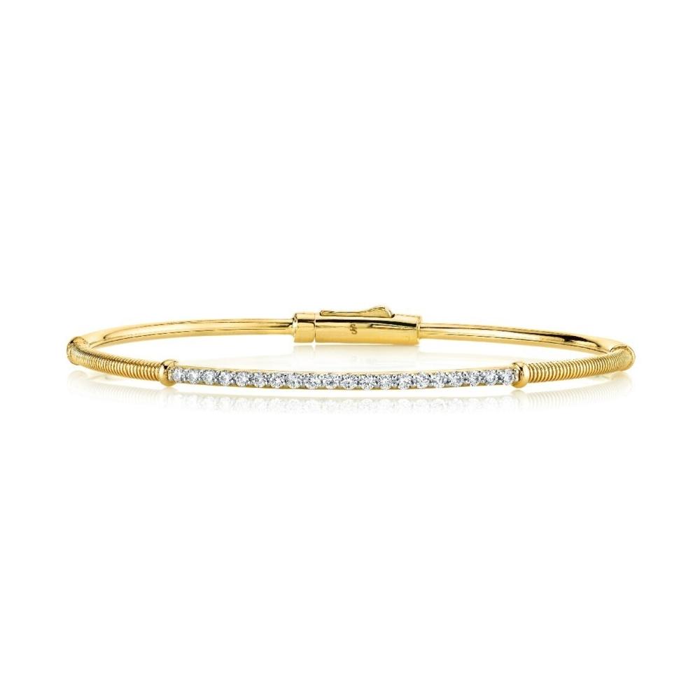 White Diamond and Strie Detail Bracelet